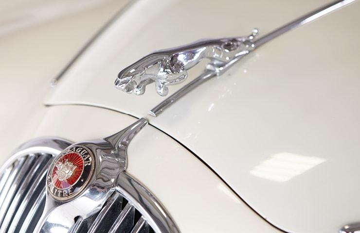 Classic white 60s Jaguar 2.4 240 classic classics badge